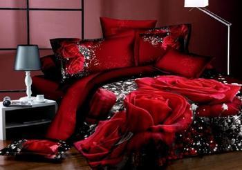 3D Đen và hồng đỏ in hoa bộ giường hoàng hậu vua kích thước duvet cover sheets giường trong một túi mền 100% cotton lãng mạn 4 cái