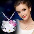 Luxo 925 sterling silver cristal Austríaco charme elegante Olá Kitty Cabeça Colares & Pingentes Mulheres jóias presente Da Menina