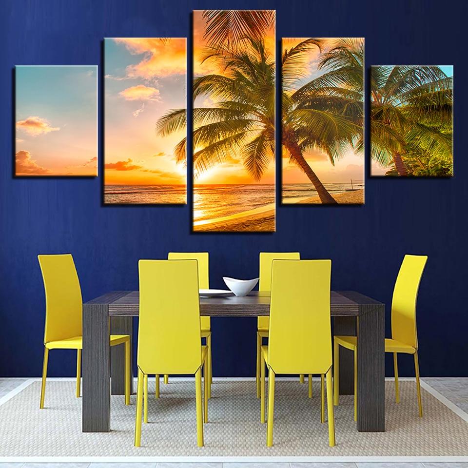 Canvas Paintings Home Decor HD Prints Palm Trees Seascape Pictures 5 ...