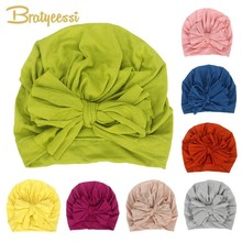 New Baby Hat for Girls Cotton Bow Turban Photography Props Kids Hats Beanie Infant Cap Boy Child 16 Colors