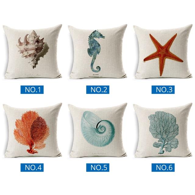 Cavallo di mare di Corallo Stampato In Cotone E Lino Cuscino Marine Ocean Sea Shell Federa Starfish Decorazioni Per La Casa Divano Cuscino del Sedile Caso