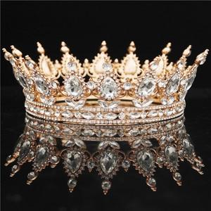 Image 2 - Yuvarlak kristal taç Diadem kraliçe Headdress Metal altın renk Tiaras ve taçlar balo Pageant düğün saç takı aksesuarları