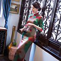 Charming Retro Women Satin Long Cheongsam Chinese Traditional Half Sleeve Wedding Evening Dress High-slit Qipao QP3