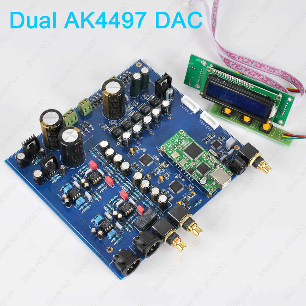 HiFi Dual AK4497 DAC AK4118 AK4497EQ DSD Native DAC 32Bit 384KHz USB Sound  Card,XMOS XU208 Amanero USB Hi-END DAC,6 FIR Filters