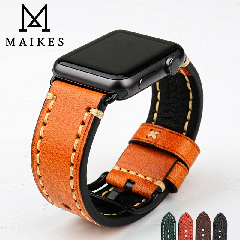 MAIKES Handmade Genuine Leather Watchband Watch Accessories Watch Band 44mm 40mm For Apple Watch Strap 42mm 38mm IWatch Gifts
