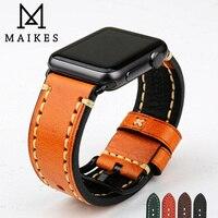Maikes artesanal pulseira de couro genuíno relógio acessórios faixa 44mm 40mm para apple pulseira de relógio 42mm 38mm iwatch presentes|Pulseira do relógio| |  -
