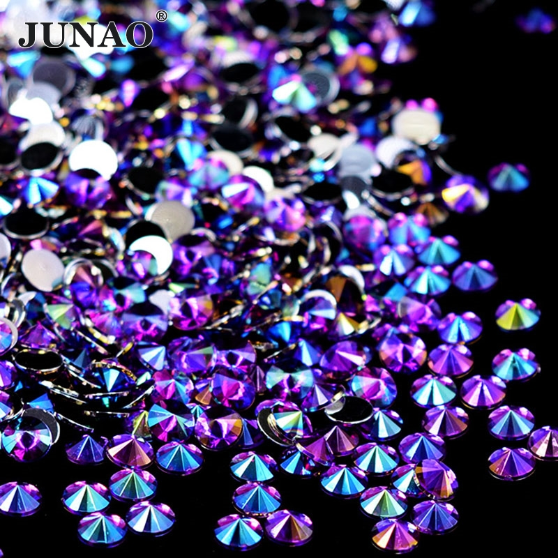 Best buy JUNAO 4 5 6 10mm Purple AB Crystal Acrylic Flatback Rhinestone  Round Nail Crystals Stones Glue On Strass Rivoli Bead For Clothes online  cheap 7faf08be8184