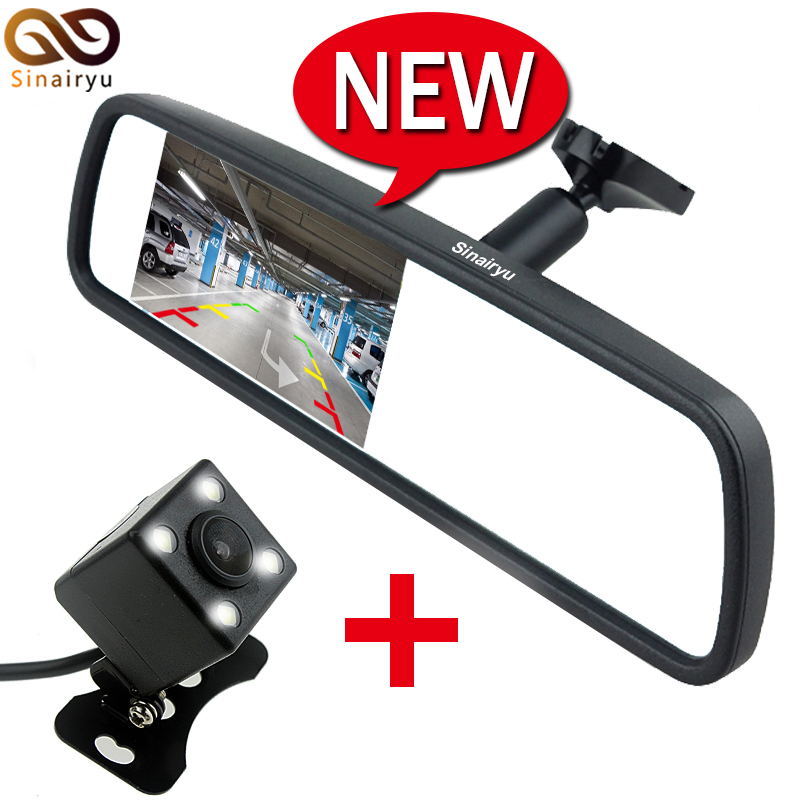 цена на New 4.3 TFT-LCD Special Rearview Mirror Car Monitor with Bracket + Auto CCD Rear View Camera, Car Parking Monitors Assistance