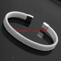 Granny Chic Fashion Simple Stainless Steel Silver Net Open Mesh Cuff Bangle Charm Men Women Bracelet