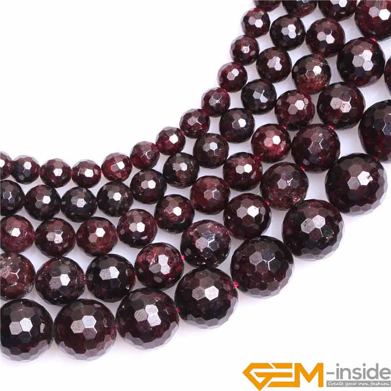 Round Faceted Garnet Stone Beads Natural Stone Beads DIY Loose Beads For Jewelry Making Strand 15 Free Shipping