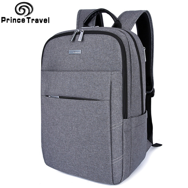 Prince Travel Lightweight Grey Men Backpack Business College Computer Bag Most Fits 15 Inch