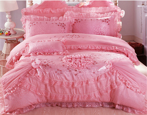 4pc6pc8pc princess bedding set romantic lace bed cover for wedding bed set king queen size duvet coverin bedding sets from home u0026 garden on
