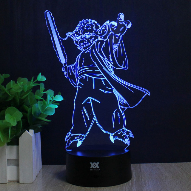 Star Wars 3D Lamp Master Yoda Remote Control Night Light Decorative Table Lamp USB 7 Colors Changing Child's Gift HUI YUAN Brand
