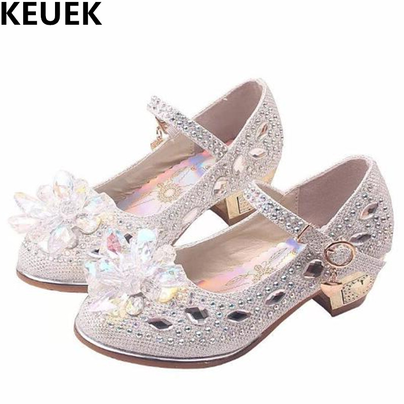 NEW Crystal Shoes Children Spring Autumn Girls Shoes Princess Rhinestone High heeled Kids Leather Shoes Baby