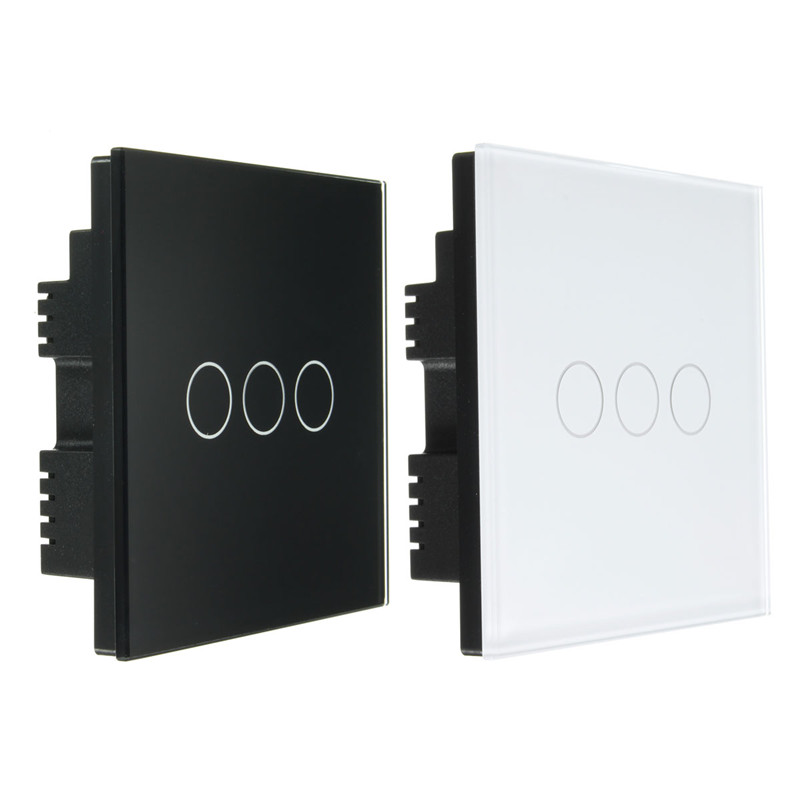 2 Way 3 Gang Tempered Glass In telligent Remote Touch Screen Light Wall Switch Panel AC10 0-250V White/Black Best Price 1 way 3 gang crystal glass panel touch screen home light wall switch remote controller ac100 250v best price