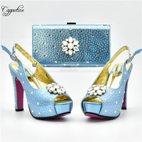Fashion light blue sandals with bag with rhinestones Italian design high heel shoes and purse sets for lady 868 4