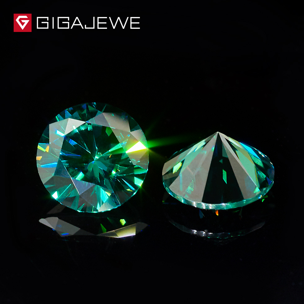 GIGAJEWE Dark Green Color Round Cut Moissanite 3mm-7mm Gem Beads Synthetic Loose Stone Gift For DIY Girl Women jewelry making