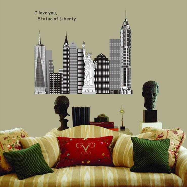Оптовая 105*88 см Америка Черная Статуя свободы Стены Стикеры Home Decor Аннотация Наклейка Наклейки на Стены для Гостиная