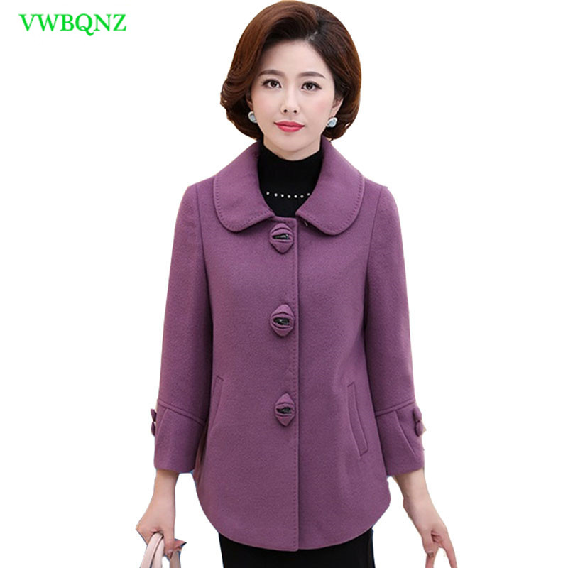 Plus size Woolen Jacket Middle-aged Women Spring Autumn Slim Thin Temperament Wool Coat Noble Ladies High quality Short Coat A67