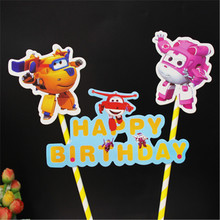 super wings party decorations topper cake flags children birthday decorating supplies robot happy