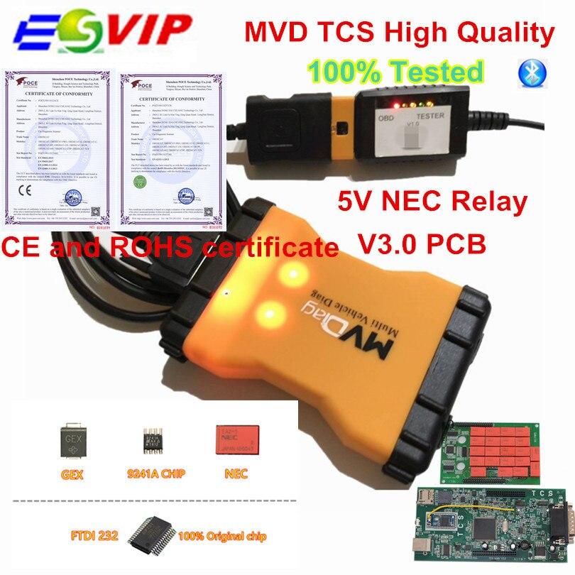 10pcs lot MVD TCS 2016 00 OBD2 Scanner with bluetooth New V CI obd2 Diagnostic Tool