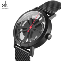 Shengke Creative Women Watches Luxury Rotatable Dial Stainless Steel Women Quartz Watch Ladies Clock 2018 Relogio
