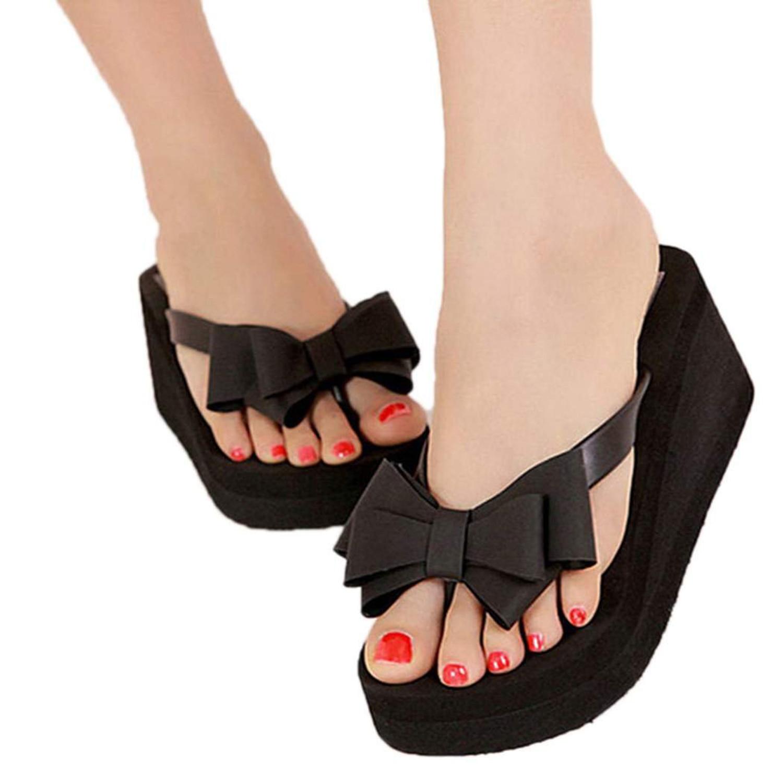 Womens sandals wedges - Aliexpress Com Buy New 1pair Summer Women Shoes Sandalet Knotbow Sandals Shoes Beach Flat Wedges Flip Flops Womens Platform Flip Flops From Reliable Wedge