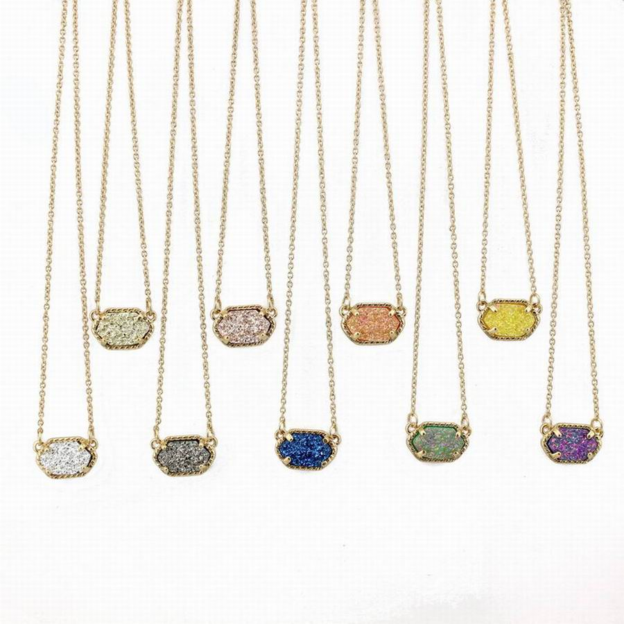 Fashion Oval Druzy Choker Pendant Necklace for Women Quartze Oval Pendant Druzy Necklace Hot Selling