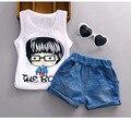 2016 Лето Девушка Новорожденный Одежда baby Set футболка + джинсовые шорты Наборы печатных Оголовье Брюки костюмы Infantis Menino
