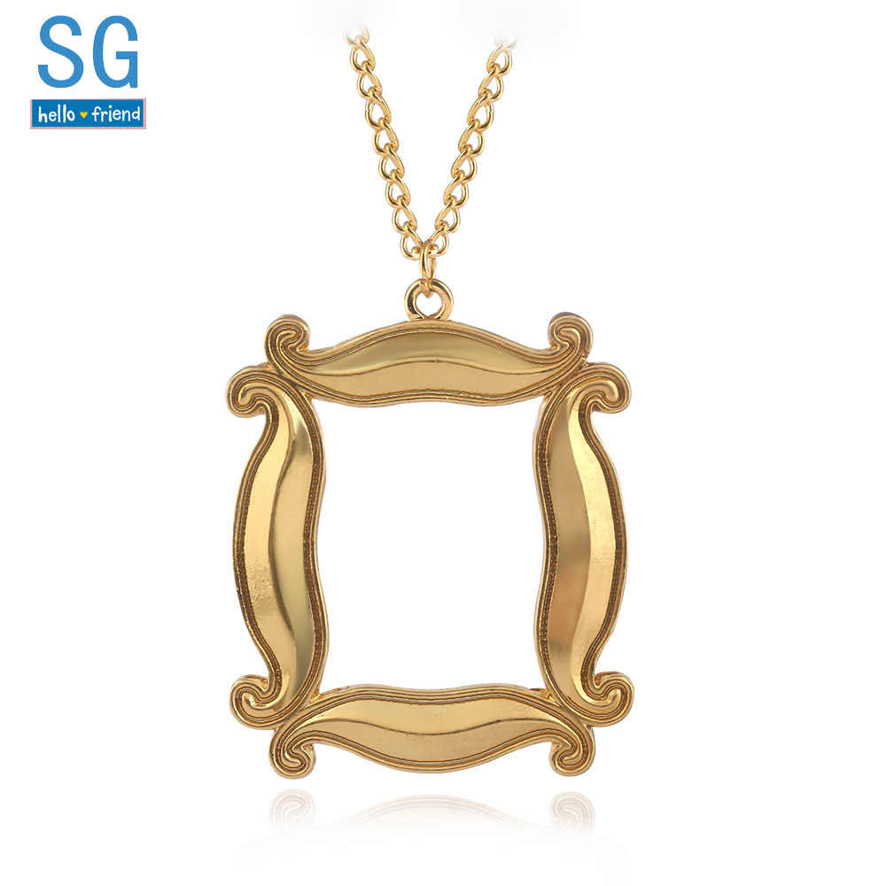 SG Dropshipping TV Show Friends Gold Photo Frame Logo Necklaces Pendants Metal Choker Keyring Broch Good Friends Jewelry Gift