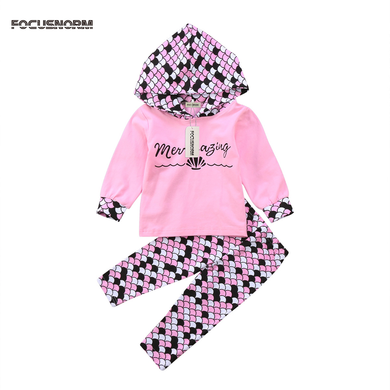 2017 New Mermaid Newborn Infant Baby Girl Clothes Print Cotton Hooded Tops Pants Outfits Set