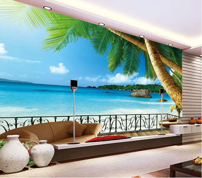 Custom landscape wall mural coconut palm the aegean sea for Beach mural bedroom