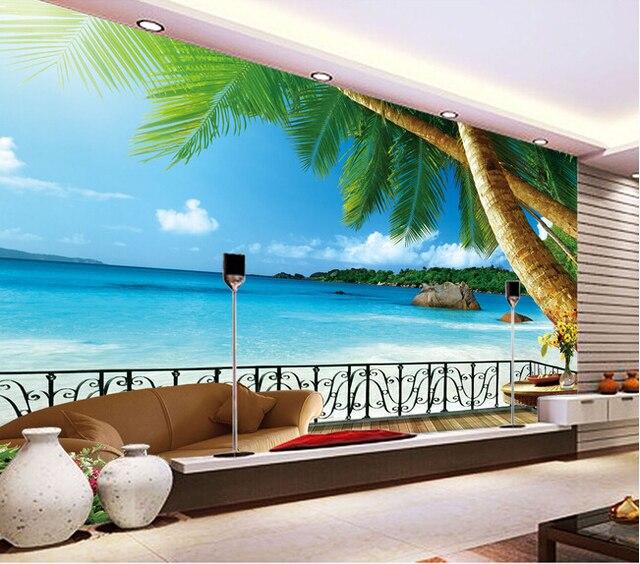 paysage personnalis fresque murale cocotier la mer eg e plage murale pour le salon chambre tv. Black Bedroom Furniture Sets. Home Design Ideas