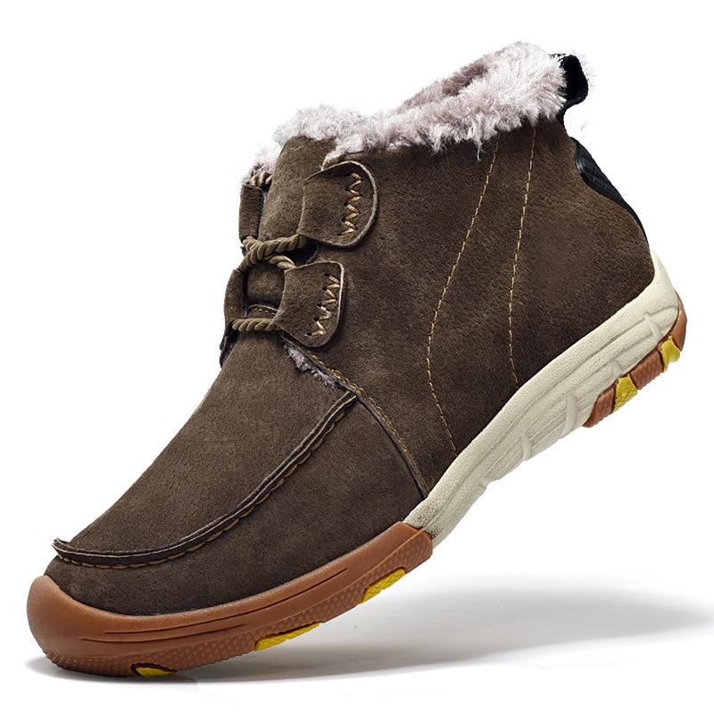 Winter men Boots Winter men Shoes Leather Men's outdoor warm and cotton shoes with men's skid resistance