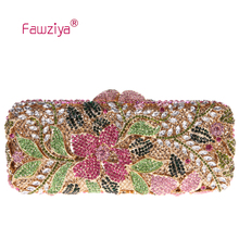 Fawziya Floral Print Purses Flower Purses For Girls Bling Rhinestone Crystal Clutch Bag