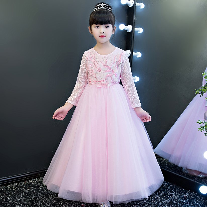 цена 2017 Sweet Cute Elegant Children Girls Pink Color Princess Lace Party Dress Kids Birthday Wedding Holiday Party Ball Gown Dress