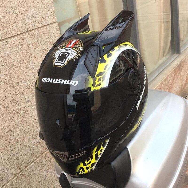 Malushen лошадь Двигатель цикл шлем ABS Moto шлем мото рог шлем личности полный Уход за кожей лица Двигатель шлем Стеклярус черный, белый цвет Рог