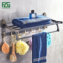 цена FLG Whole Space aluminum towel rack  bath shelf Active towel rack bathroom towel holder black towel shelf european онлайн в 2017 году