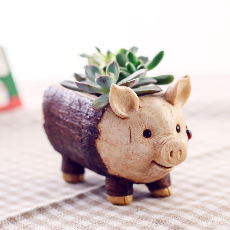 Retro Wooden Resin Flowerpot Succulent Planter Mini Bonsai Cactus Flower Pot Desktop Ornaments Home Decor Garden Supplies Hot
