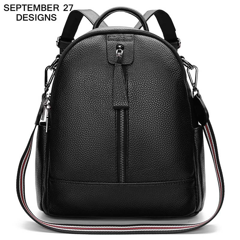 Fashion Female Backpacks 100% Real Genuine Cow Leather Women Bags Ladies Casual Travel Daypack Bag Girl Preppy Style SchoolbagFashion Female Backpacks 100% Real Genuine Cow Leather Women Bags Ladies Casual Travel Daypack Bag Girl Preppy Style Schoolbag