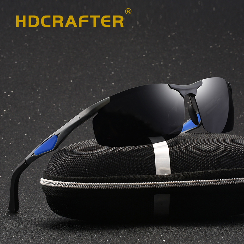Rimless sunglasses men Brand Aluminum Men's Polarized Sunglasses Rectangle Sunglasses Driving Sun Glasses Male Eyewear oculos de