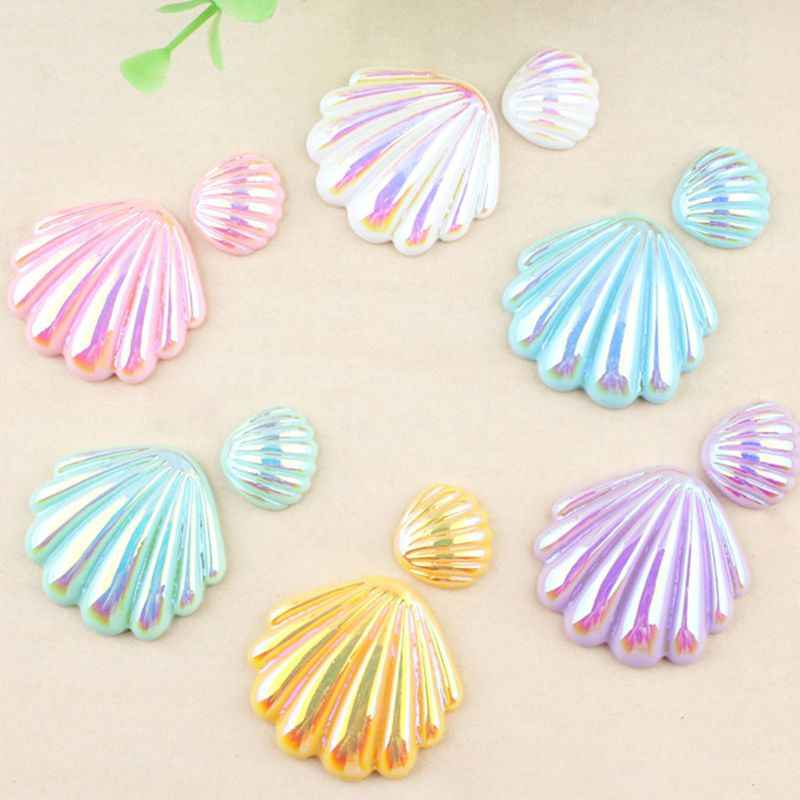 1Pc 21/40mm Ocean Cute Resin Seashell Shell DIY Scrapbooking Phone Case Decorative Craft Glitter Hologram Hair Clip Accessories