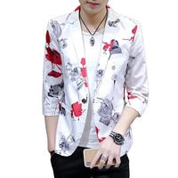 Three Quarter Sleeve Lightweight Summer Blazer Men Floral Korean Style Men Stage Costumes For Singers Vintage Mens Blazers Coats