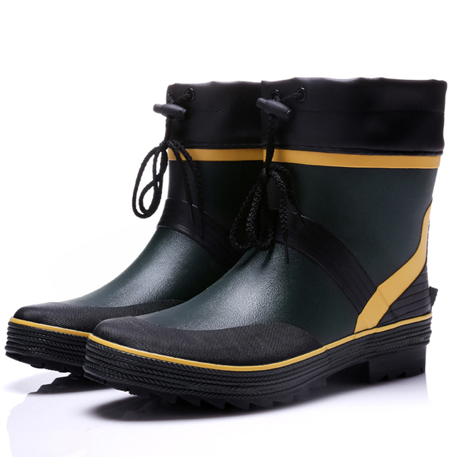 Brand New Fashion Men Rain Boots Mid-Calf Rubber Flat Heels Waterproof Rainboots Water Shoes Male Wellies Boots