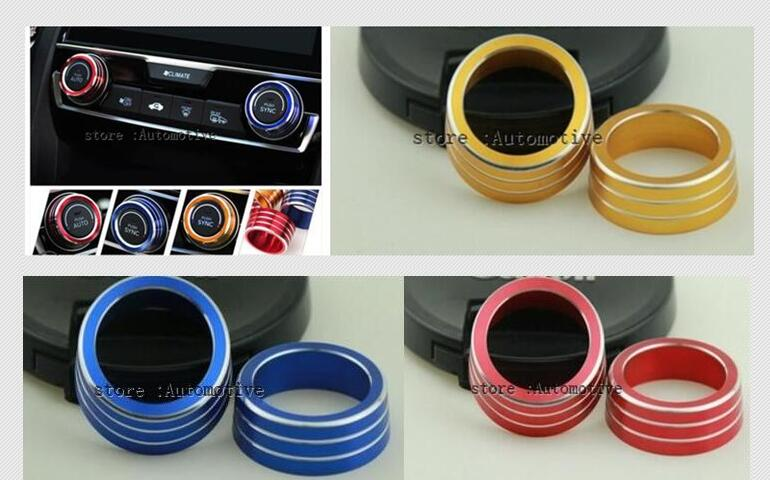 2pcs Aluminum AC Switch Buttons Cover Air Condition Climate Control Ring Knob Trim for Honda Civic 2016 2017 2018