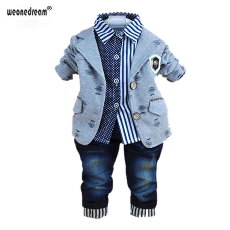 Weonedream 2018 Fashion Baby Boy Winter Clothing For 3 Pcs Boys Clothes Suits With Shirts Cotton Jeans Pant Sets 2 Colors Boys Winter Clothing Winter Clothingwinter Clothing Fashion Aliexpress