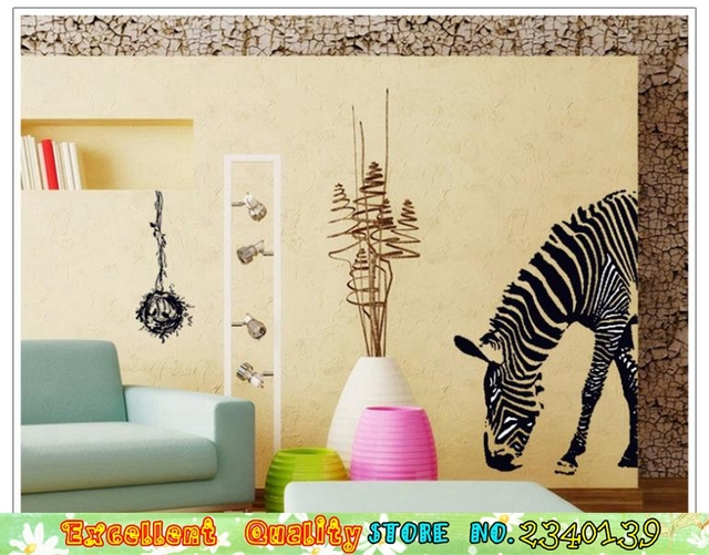 Large Zebra Wall Stickers DIY Home Decoration Vinyl Wall Paper Paste Living  Room Bedroom Mural Art