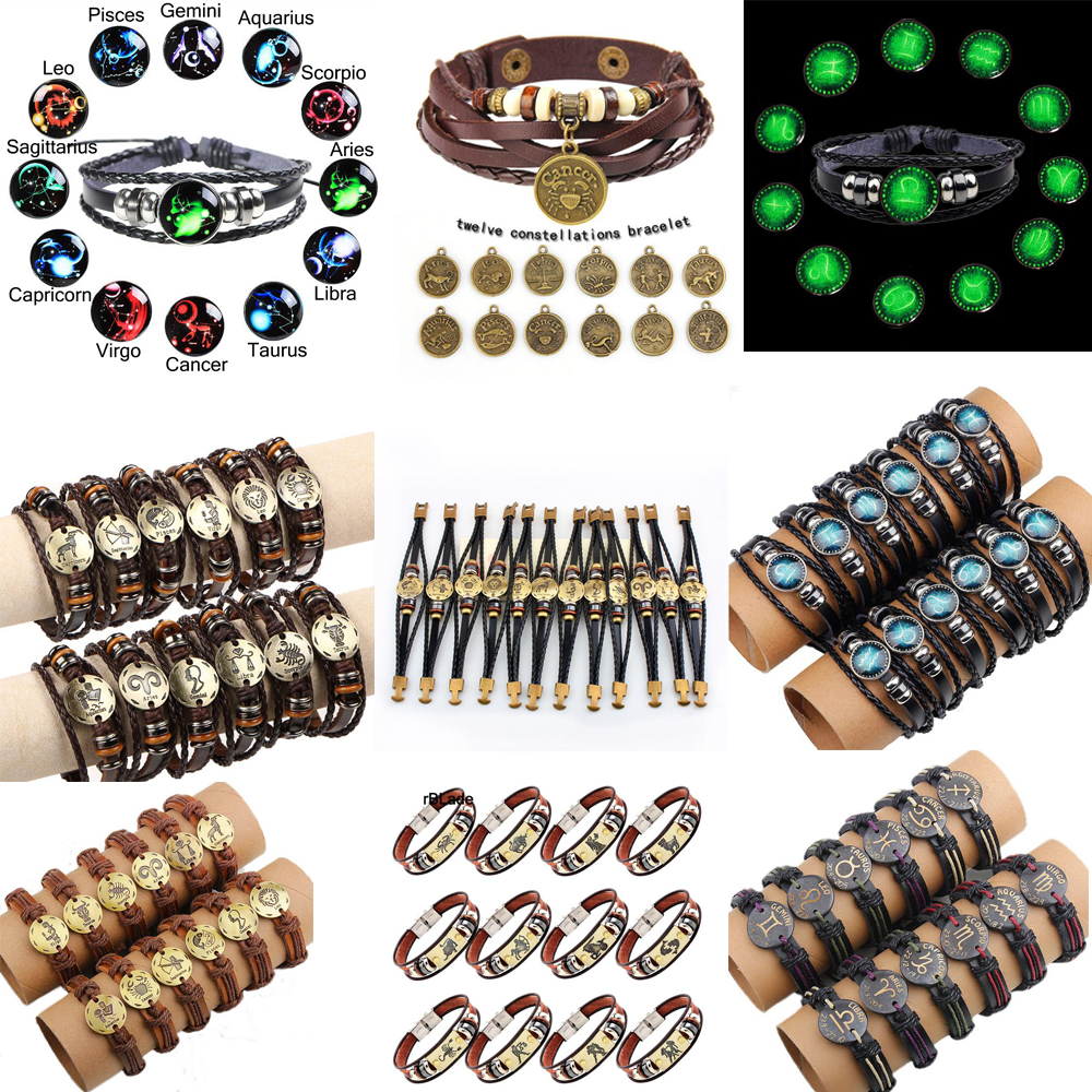 WarBLade 12pcs/set 12 Constellations Bracelets Bangles Fashion Punk Men Leather Bracelet Vintage Zodiac Signs Women Wristband ...