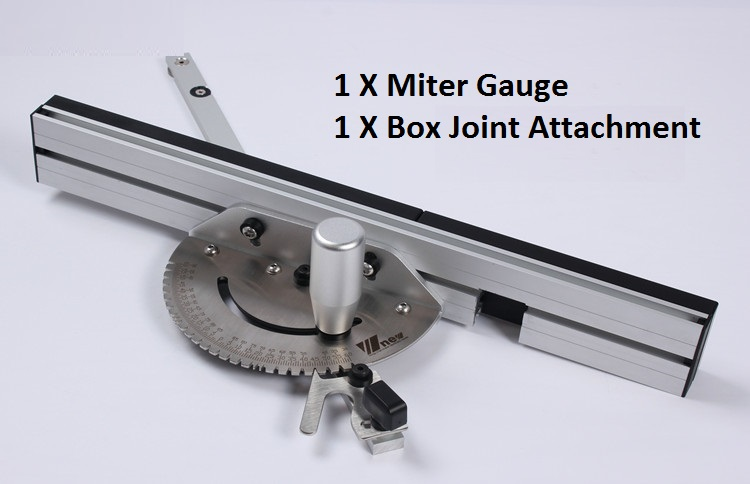 Woodworking DIY Tool Miter Gauge And Box Joint Jig Kit With Adjustable Flip Stop