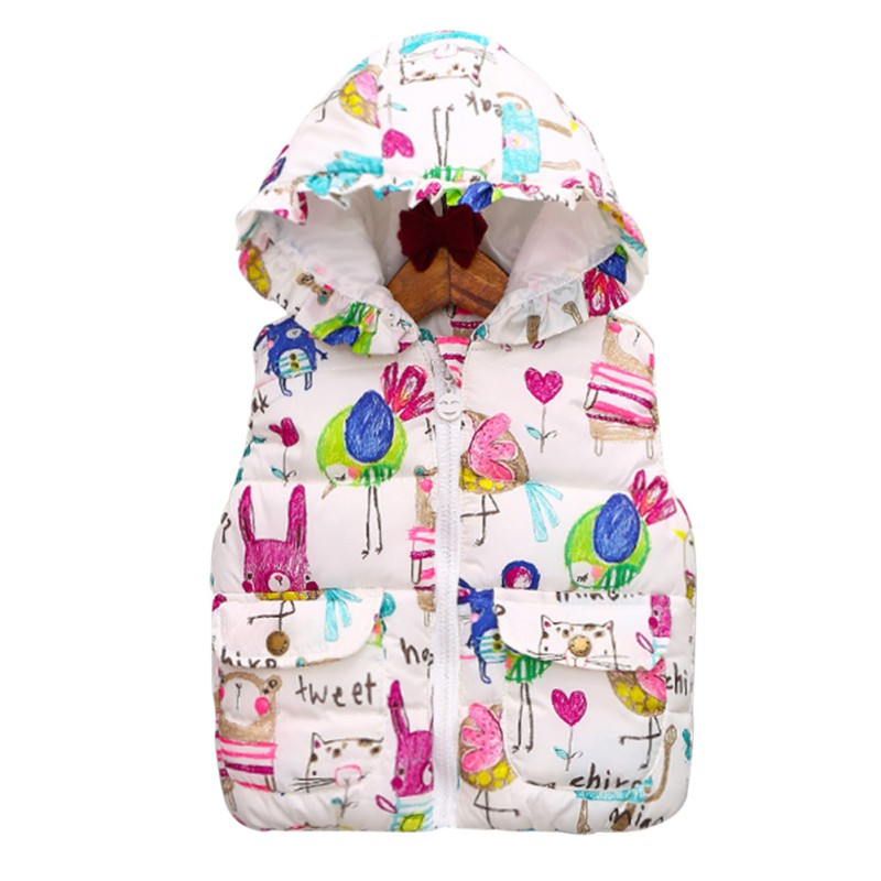 Children Clothing Winter Outerwear&Coats Animal Graffiti Thick Princess Girls Vest Hooded Kids Jackets Baby Girl Warm Waistcoat 2016 new winter children clothing cute graffiti animals girl parka warm girls jackets